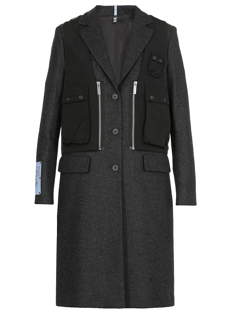 McQ Alexander McQueen Mono Breasted Wool Coat - CHARCOAL
