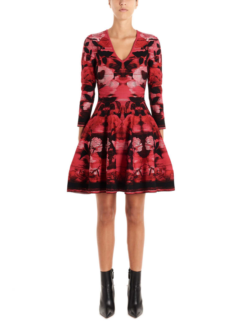 Alexander McQueen 'blurred Rose' Dress - Multicolor