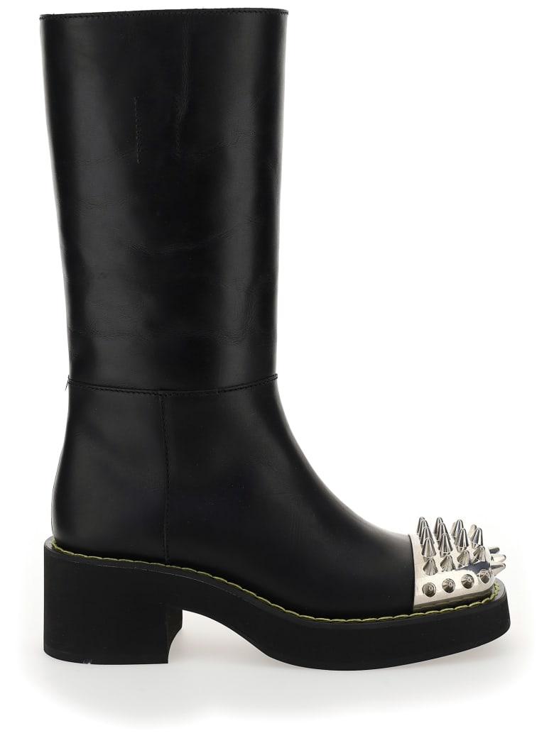 Miu Miu Studded Leather Boots - Nero