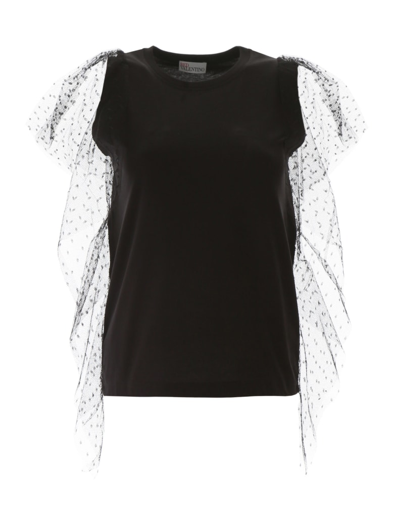 RED Valentino T-shirt With Plumetis Sleeves - NERO (Black)