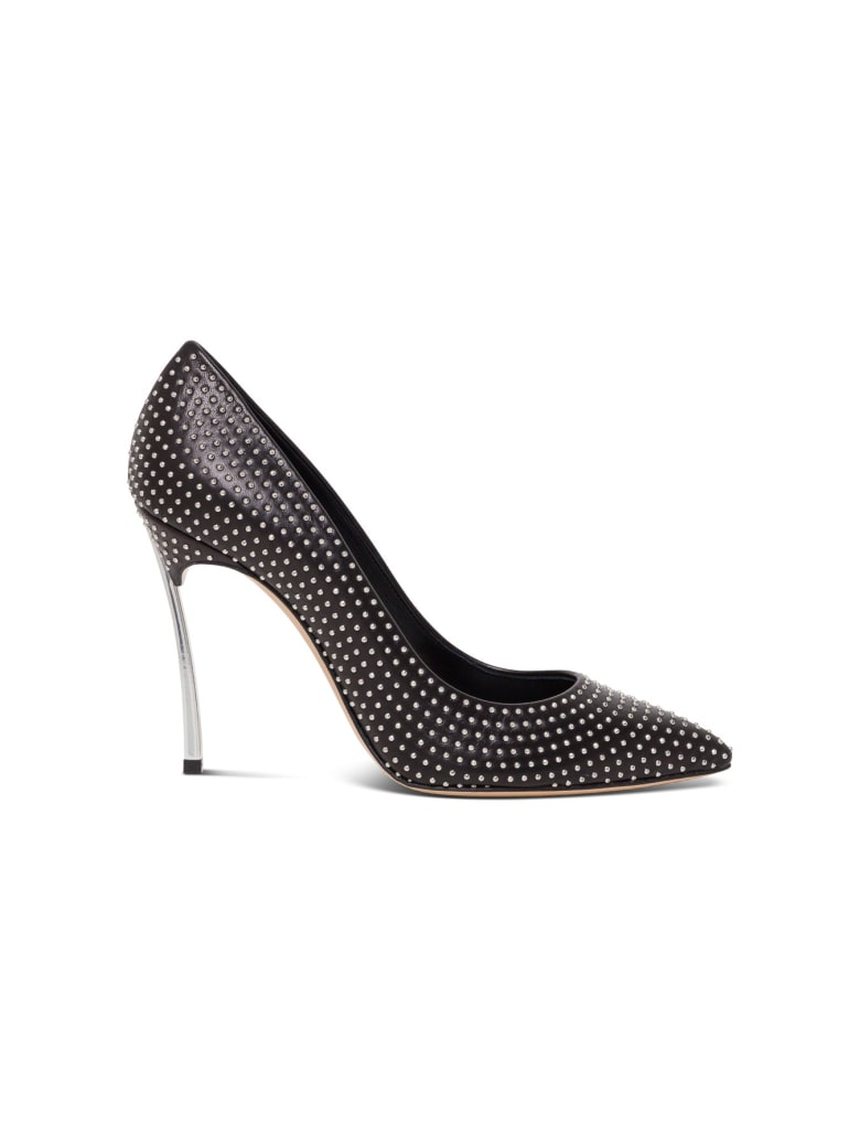 Casadei Blade Heel 100 Pointed Décolleté With Silver Studs - Black