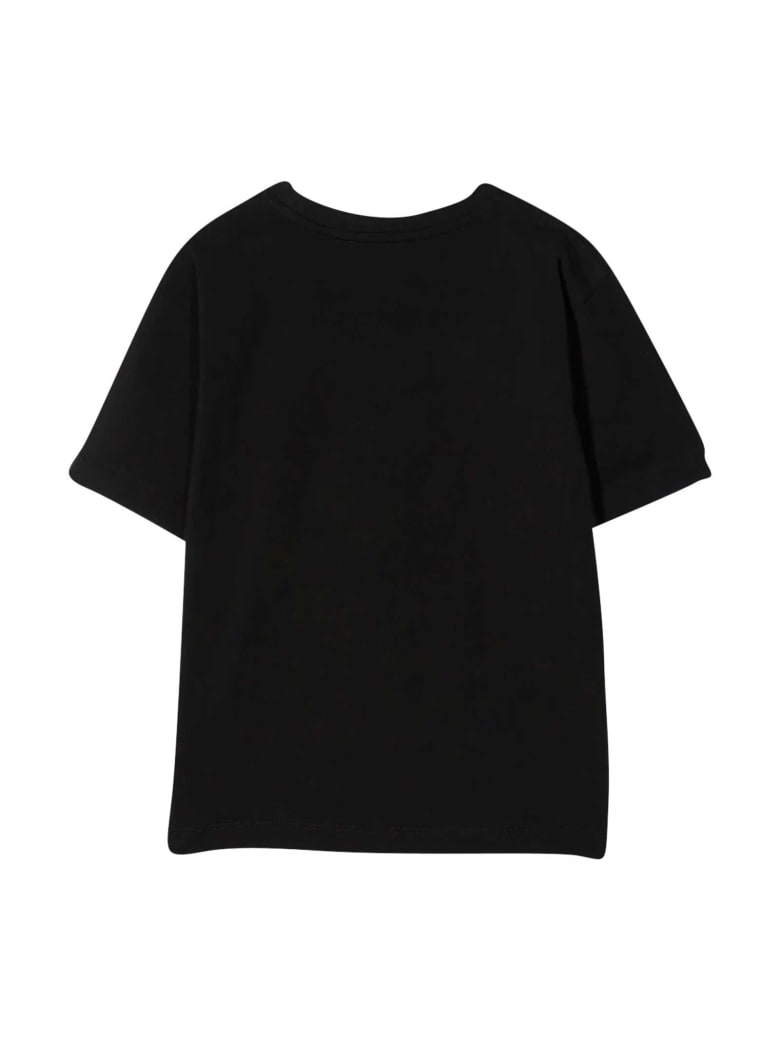 Moschino Black Teen T-shirt With Multicolor Applications - Nero