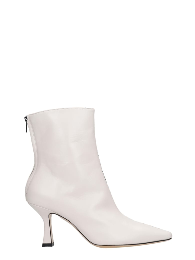 Fabio Rusconi High Heels Ankle Boots In Beige Leather - beige