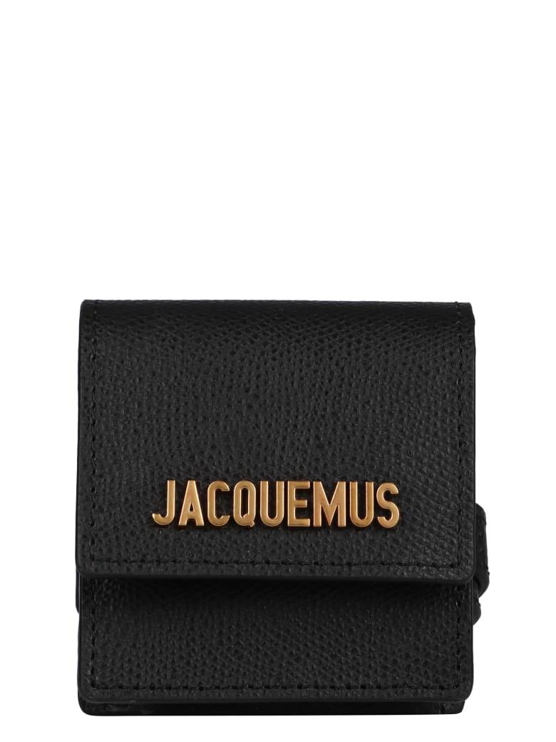 Jacquemus Logo Charm Leather Bracelet - black