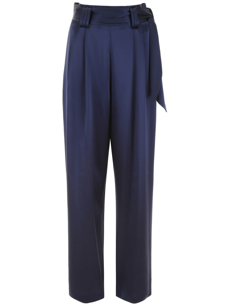Tory Burch Satin Palazzo Trousers - TORY NAVY (Blue)