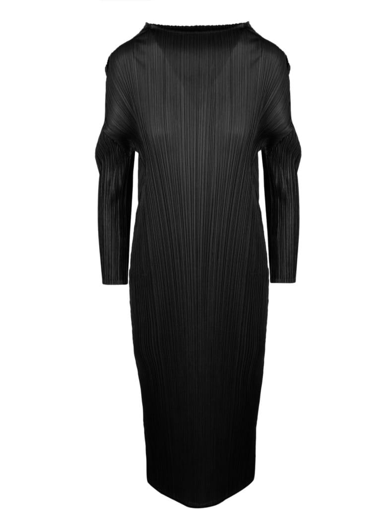 Pleats Please Issey Miyake Pleated Midi Dress - Black
