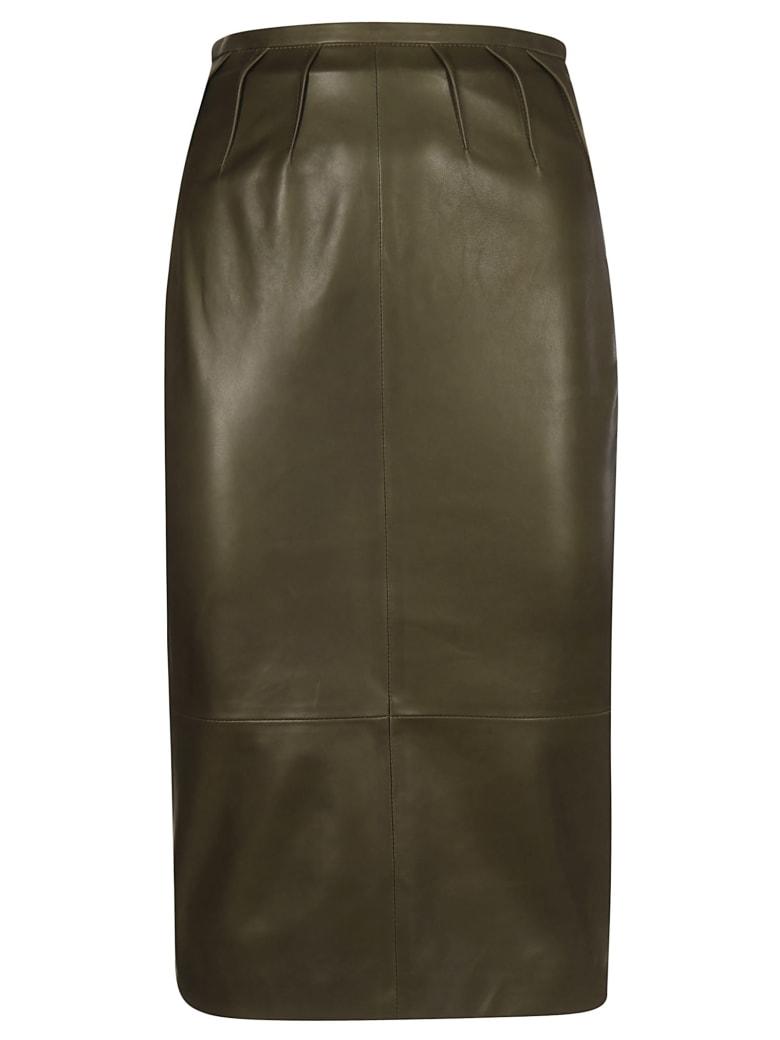 Rochas Waist Fit Leather Skirt - Dark Green