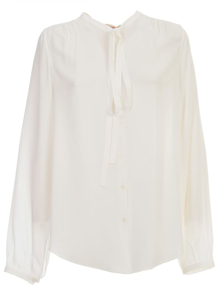 N.21 Silk Shirt L/s W/knot On Neck - Bianco Latte
