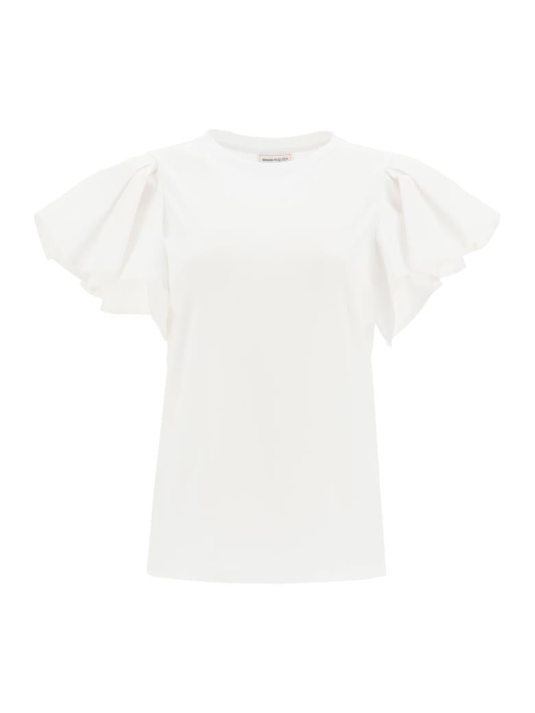 Alexander McQueen Ruffled T-shirt - WHITE