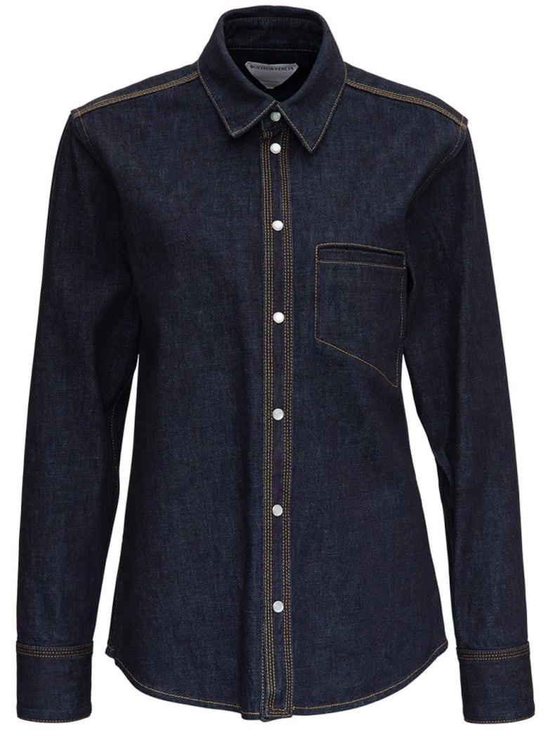 Bottega Veneta Denim Shirt With Contrasting Stitching - Blu