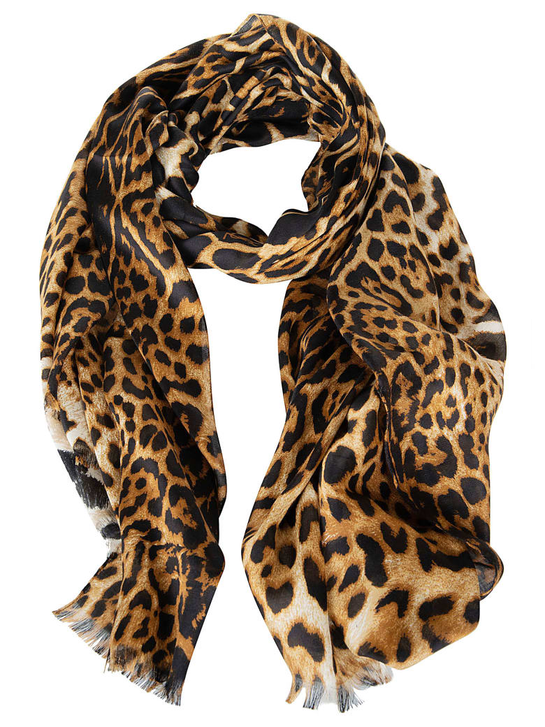 Saint Laurent Leopard Print Frayed Edge Scarf - Beigeblack
