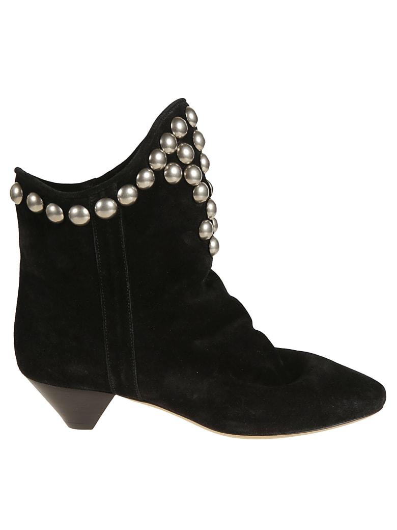 Isabel Marant Velvet Studded Boots - Black
