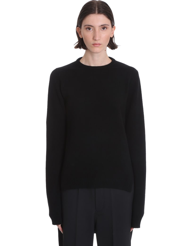 Rick Owens Round Neck Knitwear In Black Wool - black