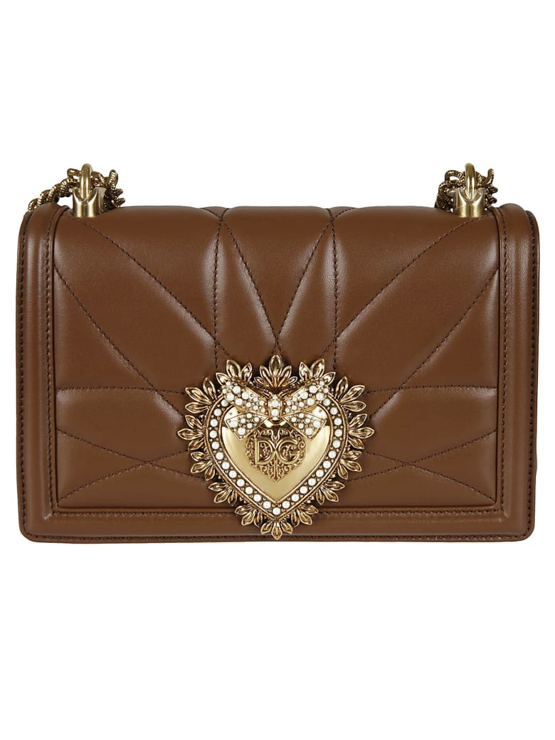 Dolce & Gabbana Heart Embellished Logo Plaque Shoulder Bag - Castagno