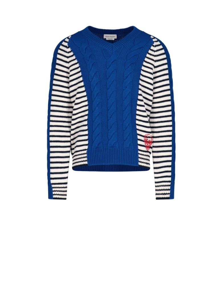 Alexander McQueen Striped Pullover - Electric blue/ivory
