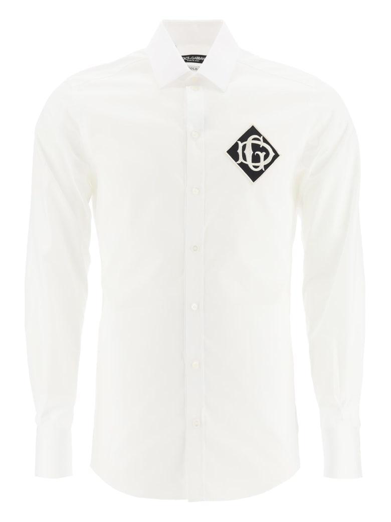 Dolce & Gabbana Gold Fit Shirt With Logo Patch - BIANCO OTTICO (White)