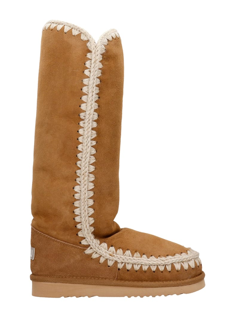 Mou Eskimo 40 Low Heels Boots In Leather Color Suede - leather color