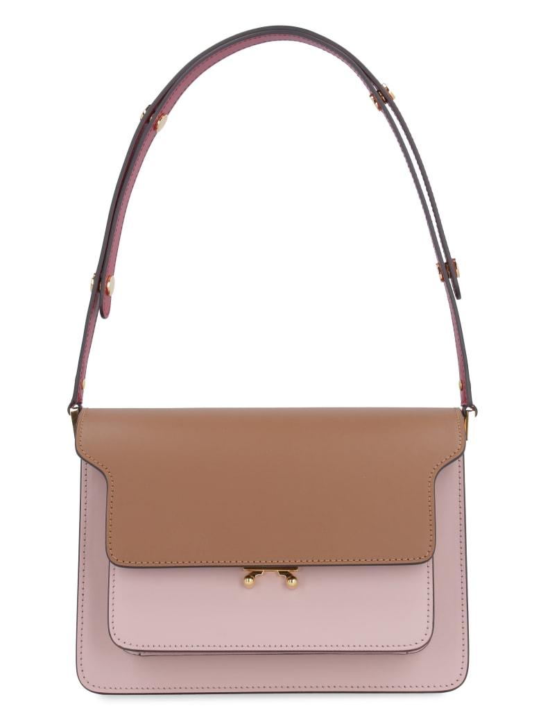 Marni Trunk Leather Shoulder Bag - Pink