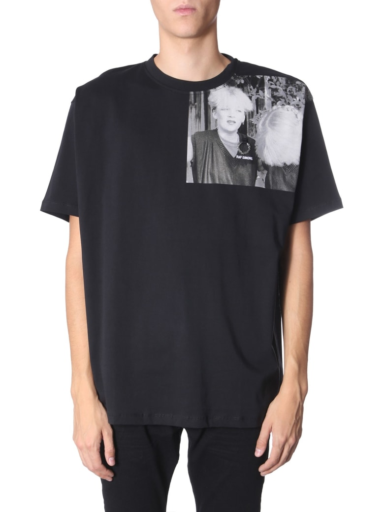Fred Perry by Raf Simons T-shirt With Printed Shoulder - NERO