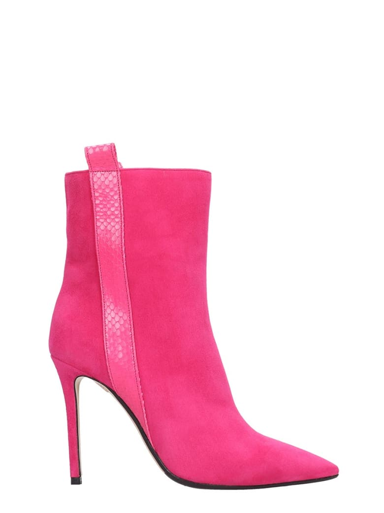 The Seller High Heels Ankle Boots In Fuxia Suede And Leather - fuxia