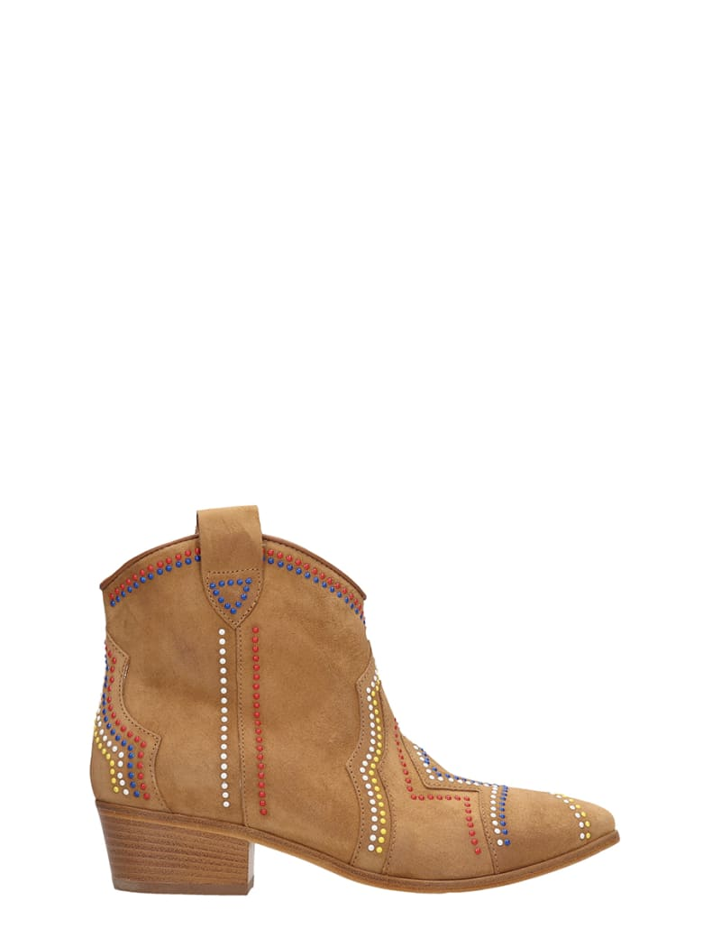 Janet & Janet Tex Light Brown Suede Ankle Boots - leather color