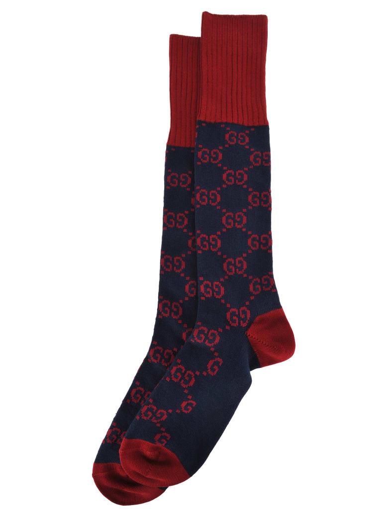 Gucci Interlocking G Socks - RED BLUE