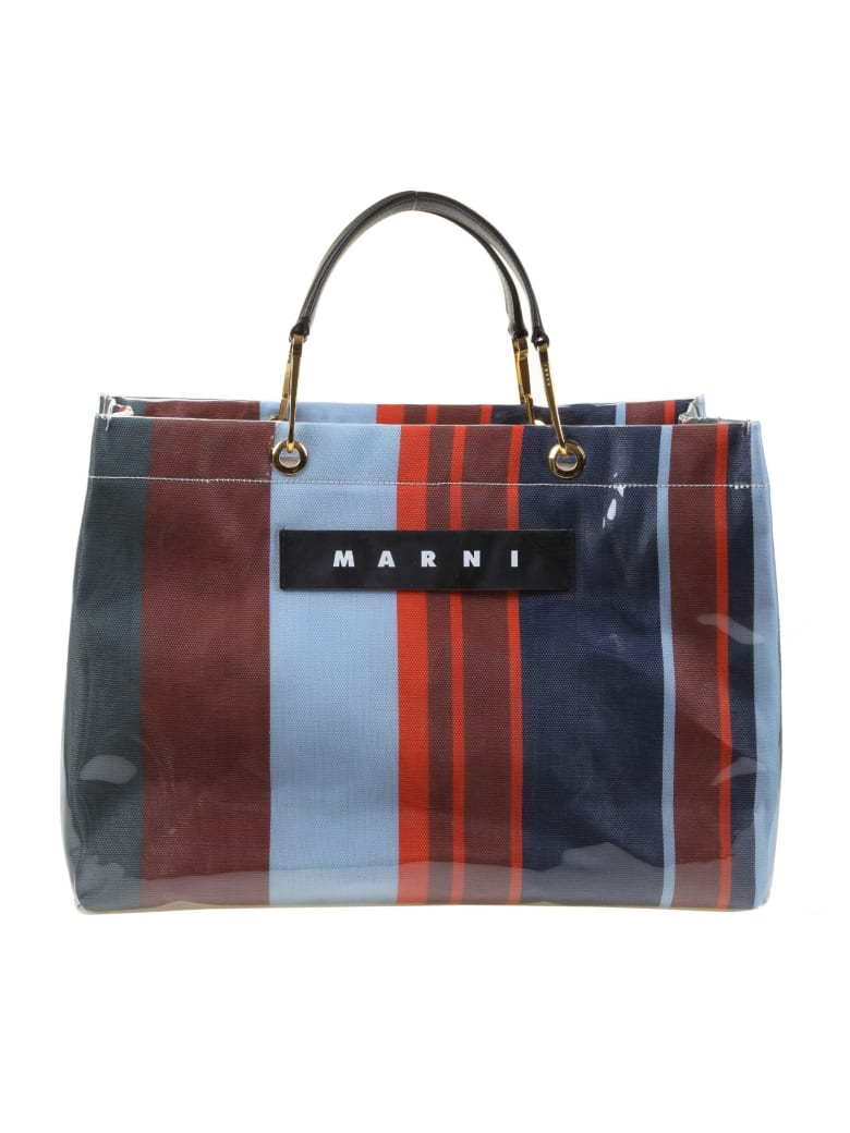 Marni Shopping Glossy Grip Multi-colored Polyamide - Blu/Rosso