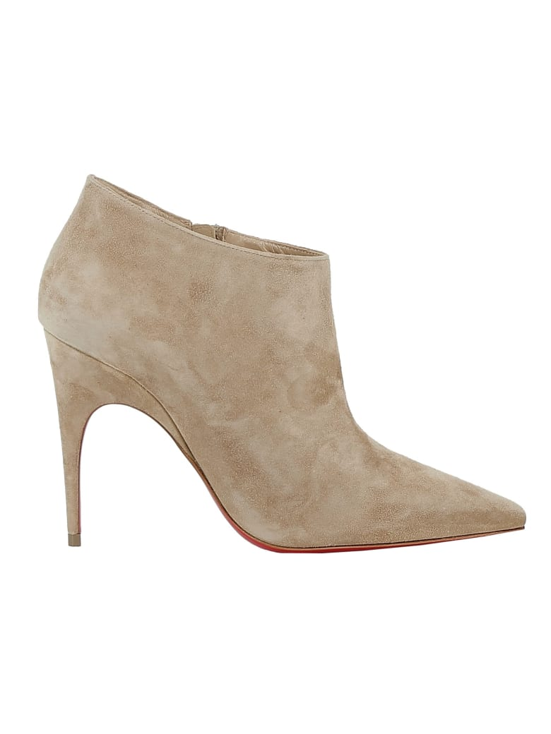 Christian Louboutin Beige Suede Ankle Boots - BEIGE