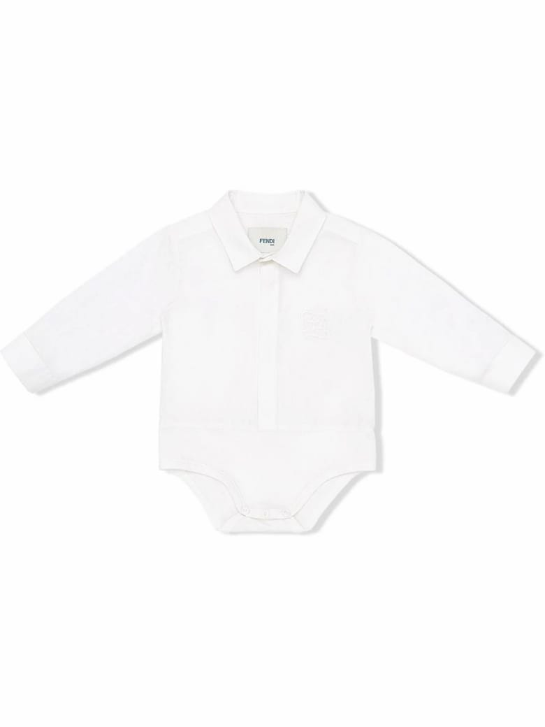 Fendi White Cotton Shirt Bodysuit - Gesso