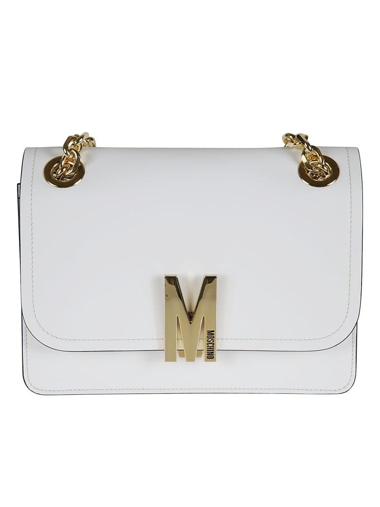 Moschino Flap Logo Plaque Shoulder Bag - white