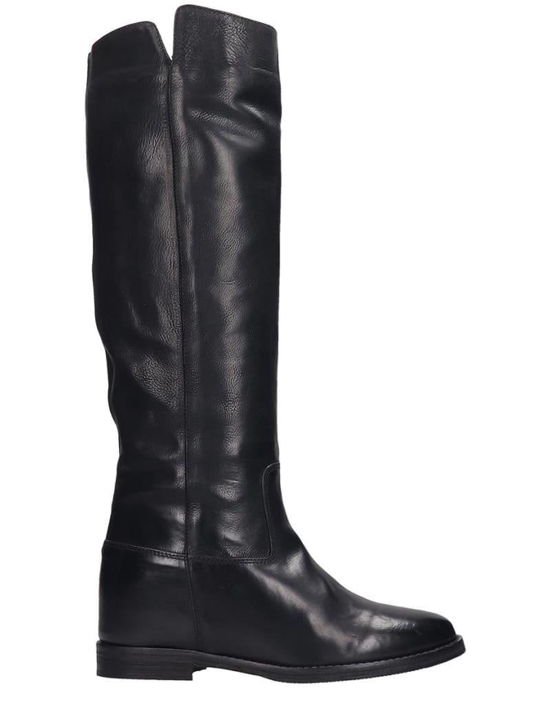 Julie Dee Low Heels Boots In Black Leather - black