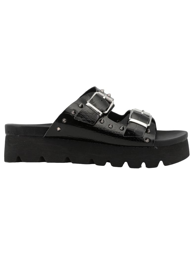 Cult Reptile Print Leather Sandal - BLACK
