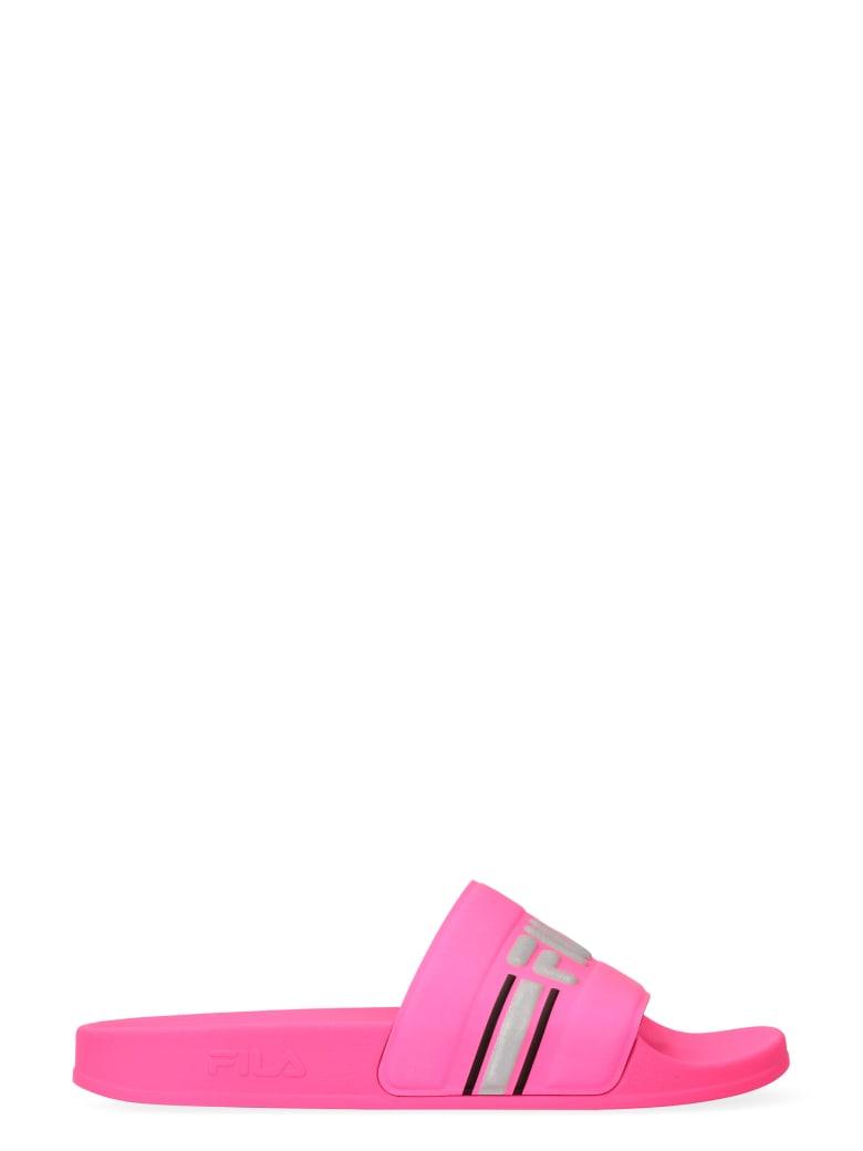 Fila Morro Bay Logo Detail Rubber Slides - Fuchsia
