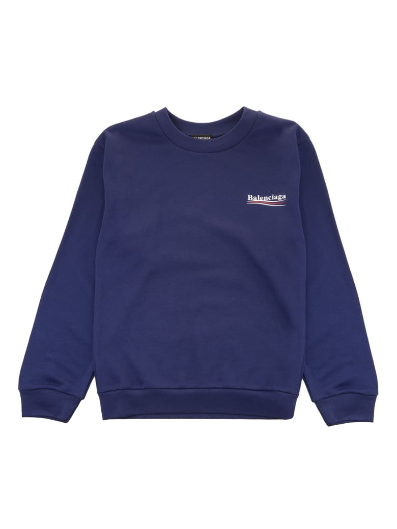 Balenciaga Blue Balenciaga Political Campaign Kid Sweatshirt - Pacific blue/white
