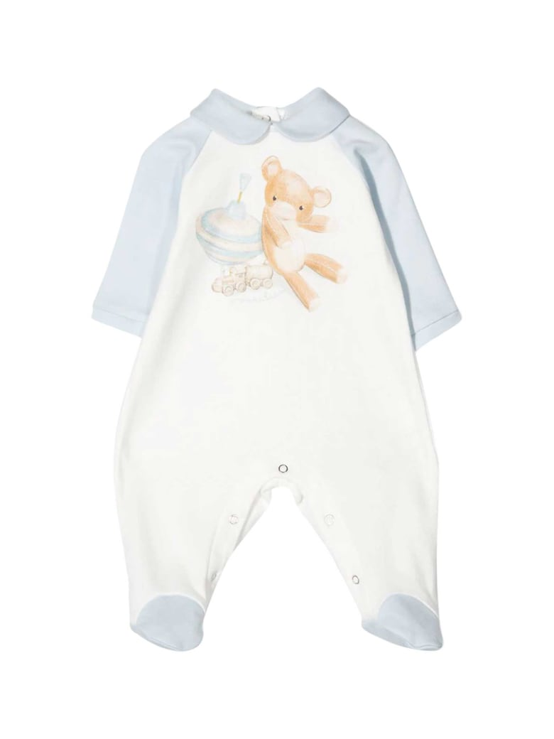 Monnalisa White And Light Blue Romper With Frontal Press - Azzurra