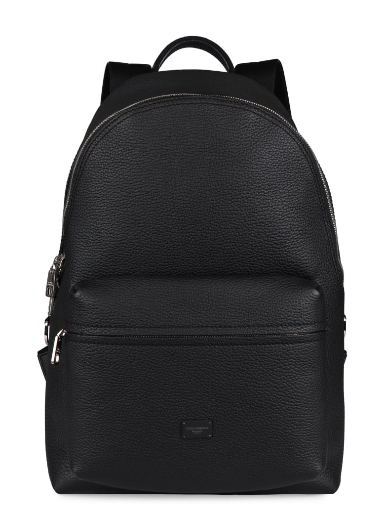 Dolce & Gabbana Vulcano Leather Backpack - black
