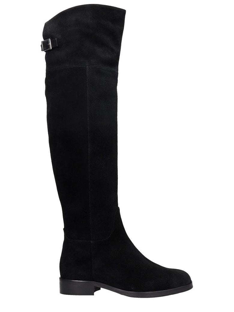 Fabio Rusconi Low Heels Boots In Black Suede - black
