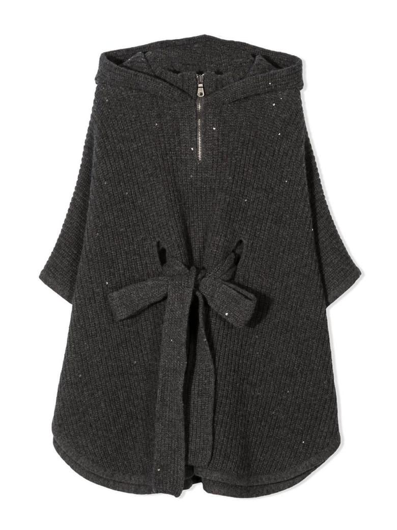 Brunello Cucinelli Grey Silk-cashmere-virgin Wool Poncho - Grigio