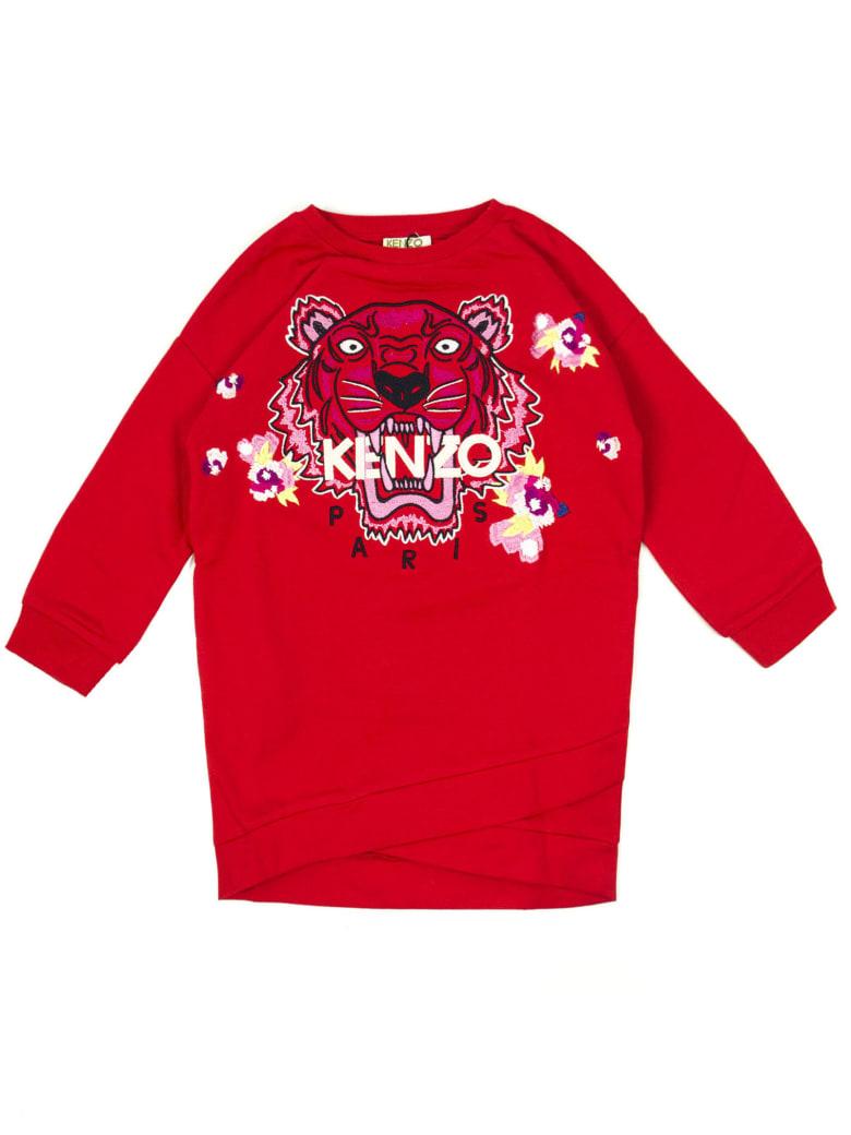 Kenzo Red Cotton Blend Sweatshirt Dress - Rosso