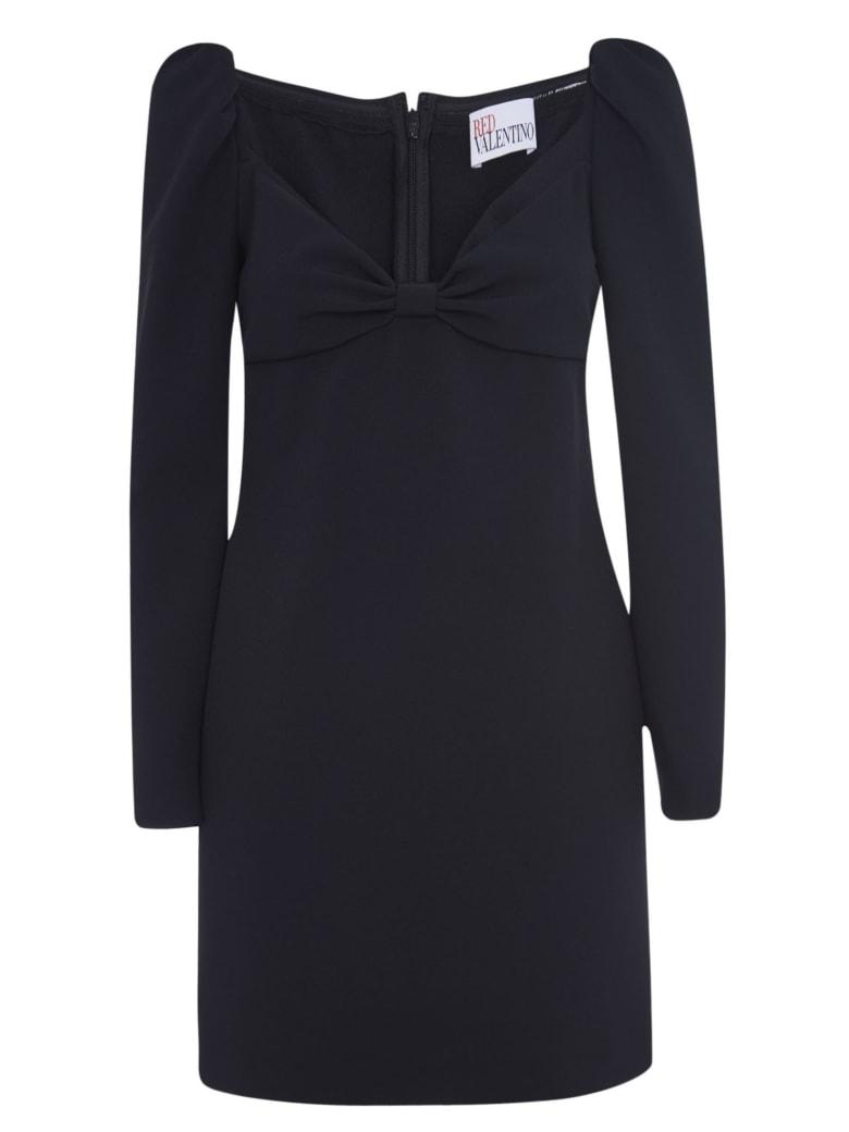 RED Valentino Rear Zip V-neck Dress - Black