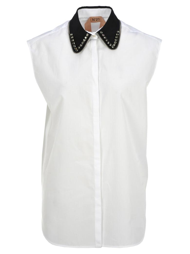 N.21 N21 Crystals Embellished Shirt - WHITE