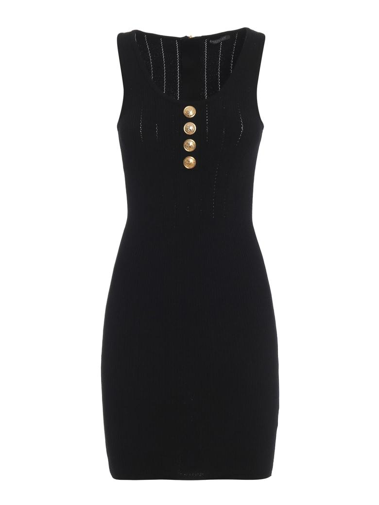 Balmain Short Stretch Viscose Slip Dress - Black