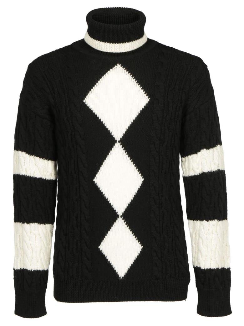 Saint Laurent Turtleneck Knitwear - Noir/naturel