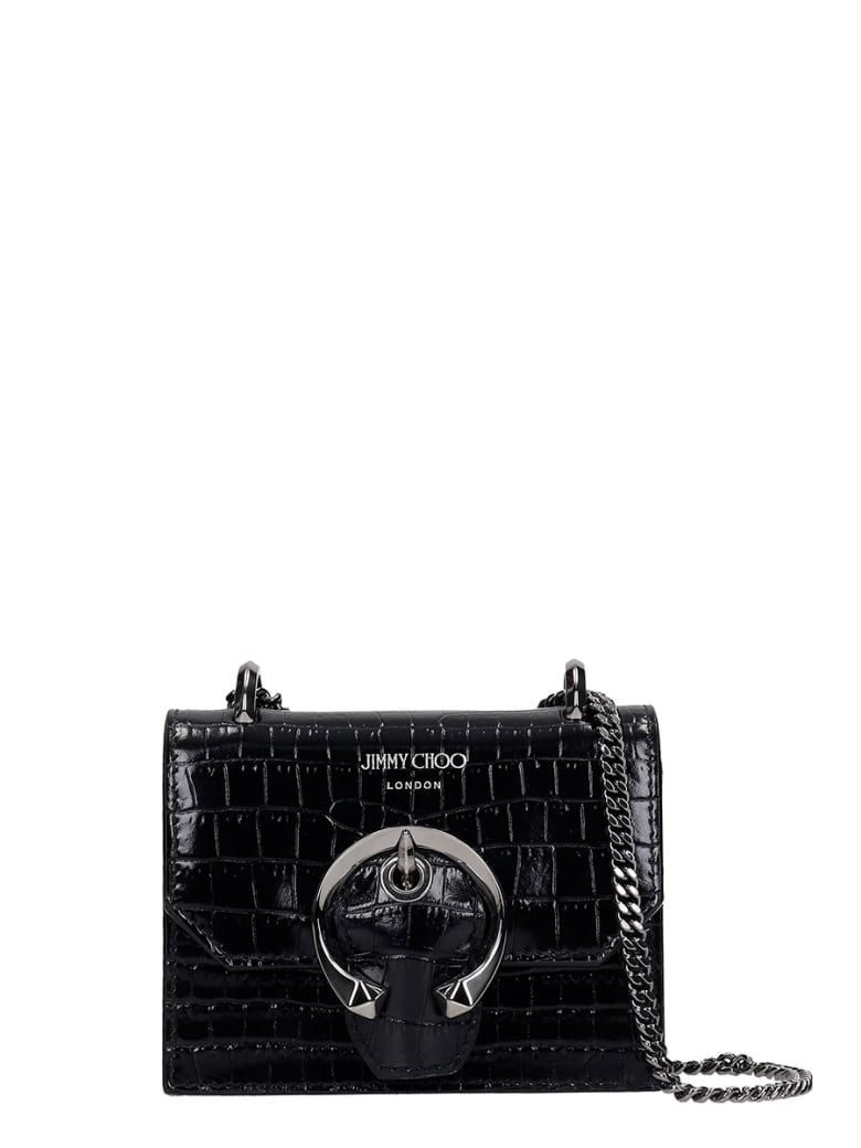 Jimmy Choo Mini Paris  Shoulder Bag In Black Leather - black
