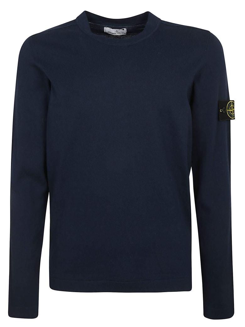 Stone Island Ribbed Logo Patched Sweatshirt - Blue Marine