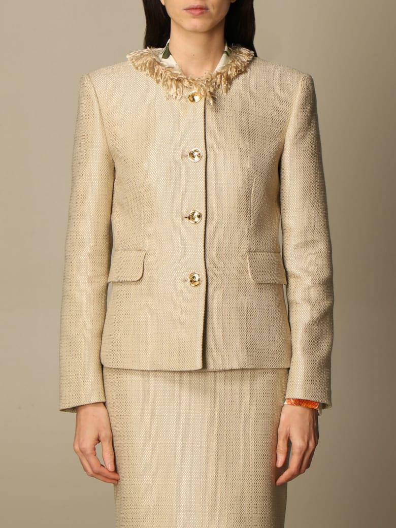 Boutique Moschino Blazer Moschino Boutique Crewneck Jacket In Mat - Beige