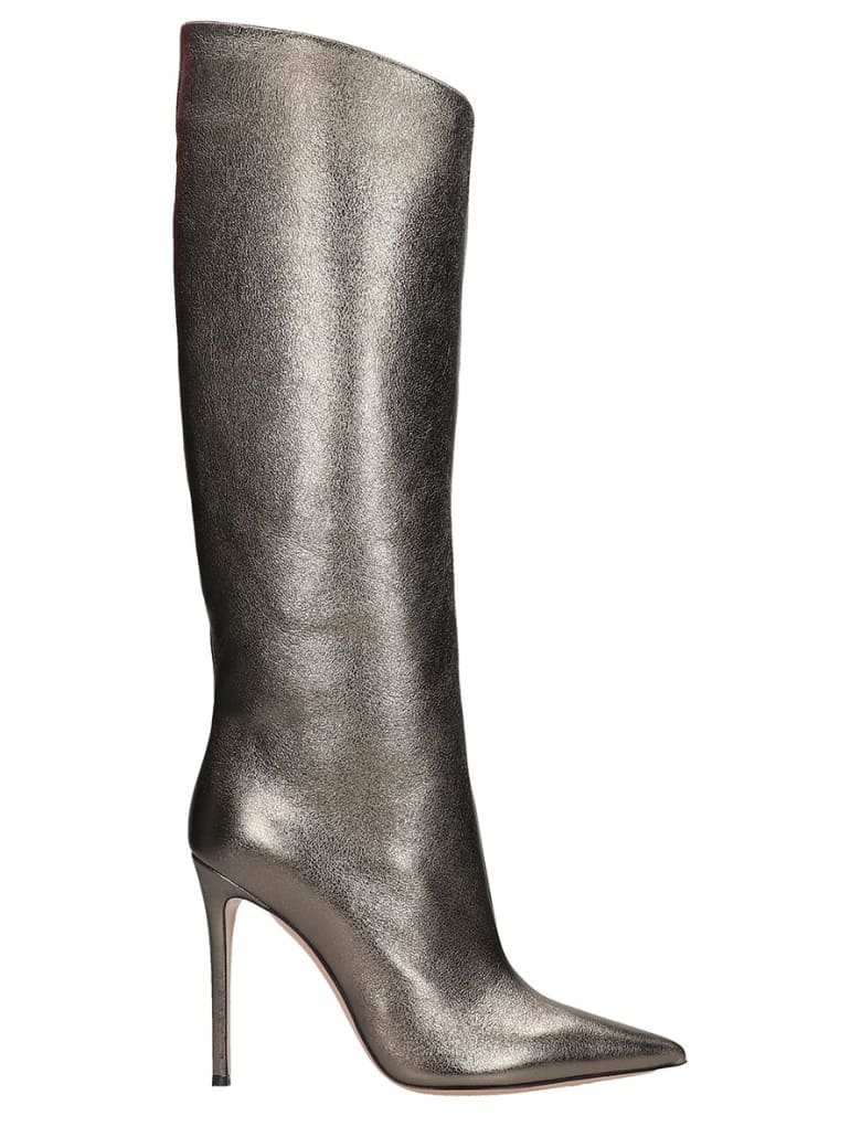 Lerre High Heels Boots In Silver Leather - silver