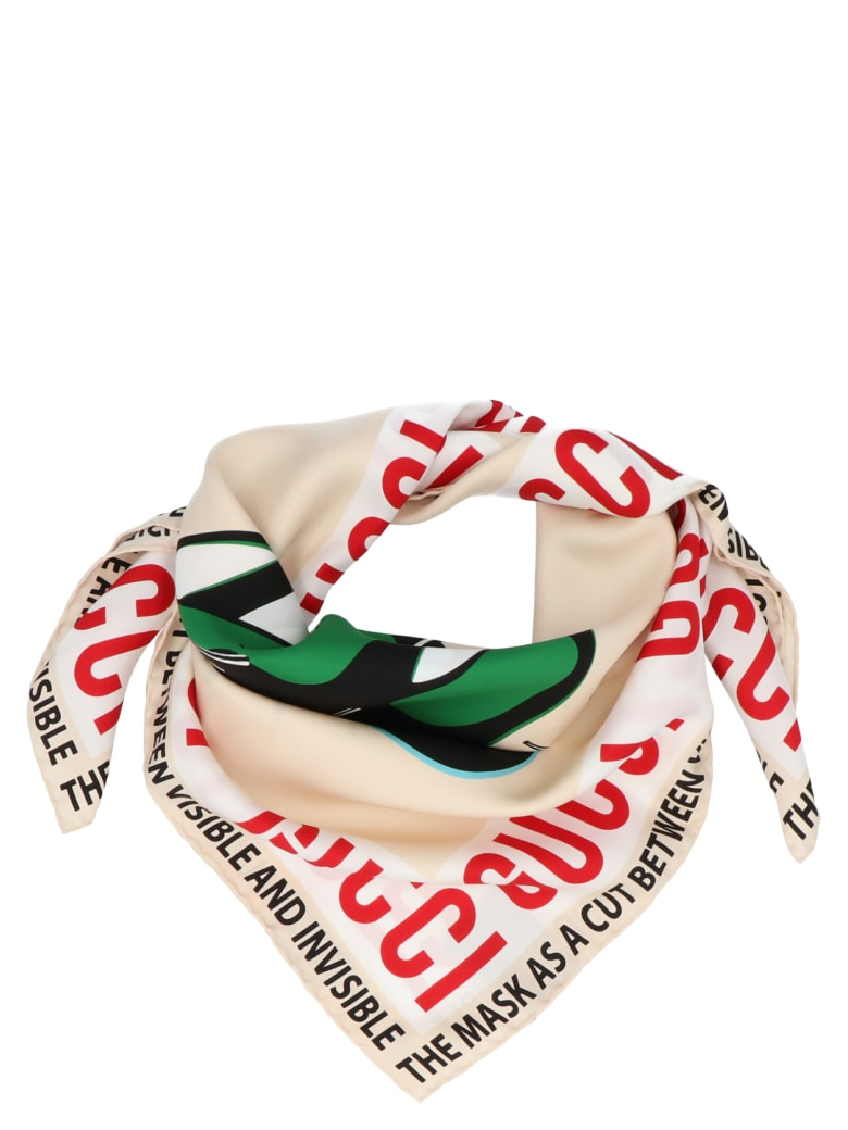 Gucci 'masks' Foulard - White