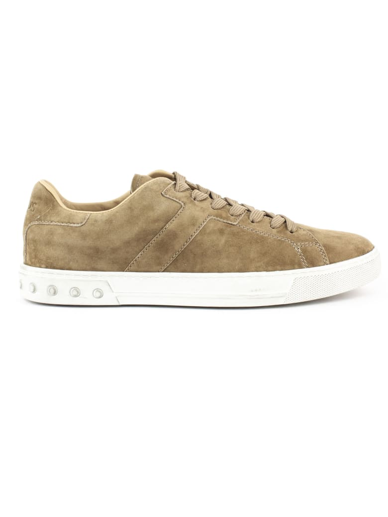 Tod's Sneakers In Beige Suede - Tabacco