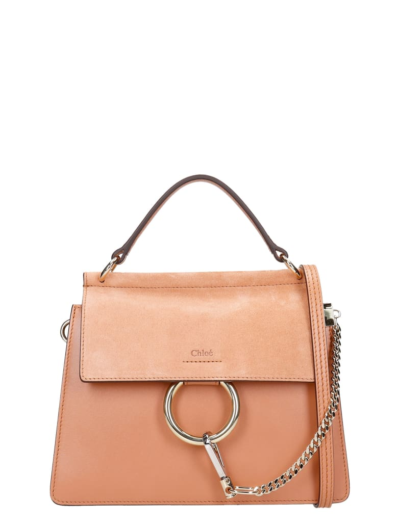 Chloé Faye Med Hand Bag In Powder Leather - Rosa